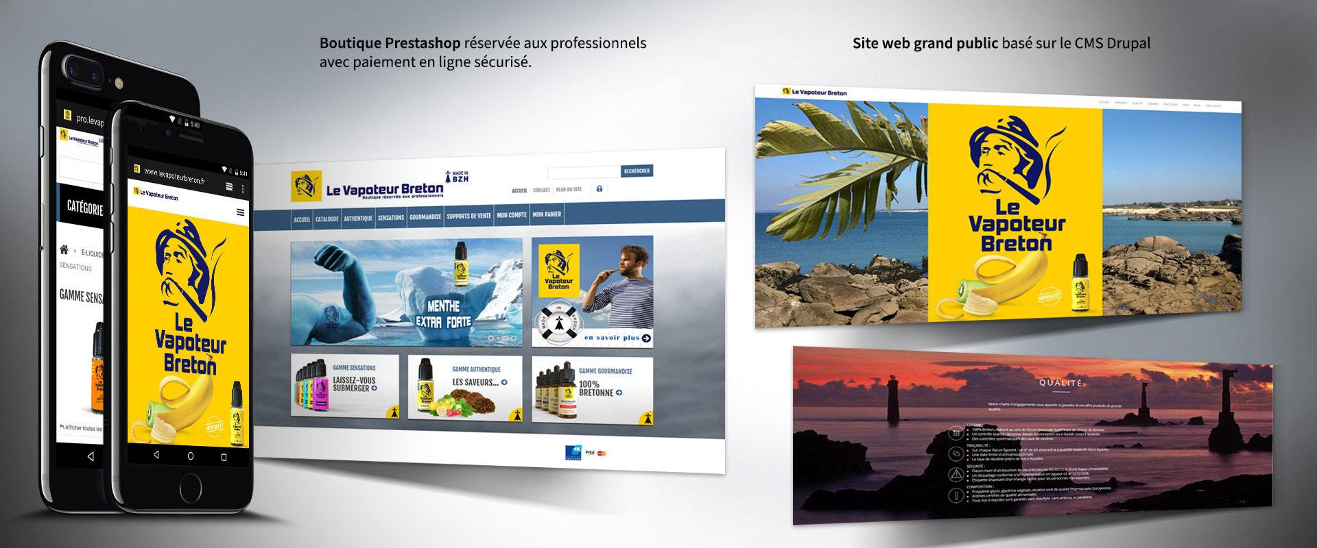 Le Vapoteur Breton : site grand public basé sur CMS Drupal et boutique Prestashop réservée aux professionnels